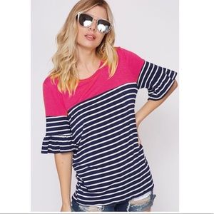 Tops - 🌷COLOR BLOCK PINK/NAVY STRIPED TOP RUFFLE SLEEVES